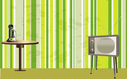 Retro style room with tv, telephone and table Stock Photography