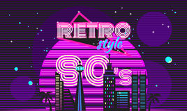 Retro style 80s disco design neon Royalty Free Stock Images