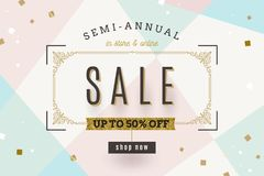 Retro style Sale banner with flourishes frame and glitter gold elements. Retro style Sale banner with ornamental flourishes frame and glitter gold elements Stock Images