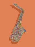 Retro style saxophone card Royalty Free Stock Photo