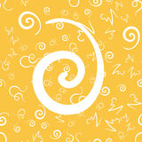 Vintage style seamless pattern with white swirls on yellow. Good for wrapping paper and website backdrops. Retro style seamless pattern with white swirls on Stock Images