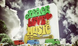 Retro-style sign of Peace. Love and Music with symbols, such as heart, musical notes and guitar Stock Photo