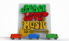 Retro-style sign of Peace. Love and Music with symbols, such as heart, musical notes and guitar Royalty Free Stock Images