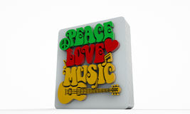 Retro-style sign of Peace. Love and Music with symbols, such as heart, musical notes and guitar Vector Illustration