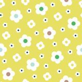 Retro Style Simple White Flowers on Lemon Yellow Background Vector Seamless Pattern. Clean Abstract Floral Print. Retro Style Simple White Flowers on Lemon Stock Photography