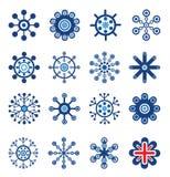 Retro Style Snowflakes Set Stock Photos