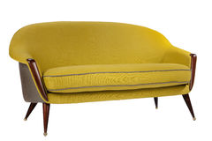 Retro style sofa sixties style antique mustard yellow color Stock Photos