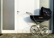 Retro style stroller baby carriage outdoors Royalty Free Stock Image