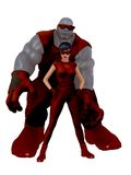 Retro style superhero couple. Monstrous disproportionally muscled blue skinned male superhero and female partner in matching retro style red costumes and goggles Royalty Free Stock Photo