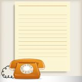 Retro style telephone with blank note page Stock Image