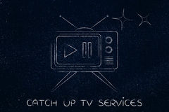Retro style television with paus & play button Royalty Free Stock Image
