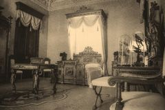 An 18th Century Bedroom. A retro style 18th Century Bedroom Royalty Free Stock Images