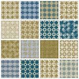 Retro style tiles seamless patterns set, vector backgrounds, col. Lection of 16 examples Stock Photo