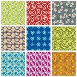 Retro style tiles seamless patterns set. Royalty Free Stock Photos