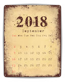 2018 Tin plate calendar September. A retro style tin and enamel signboard with monthly calendar for September 2018. EPS10  format Stock Photos