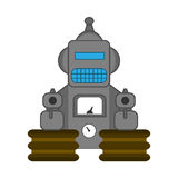 Retro style toy robot. Angry retro style toy robot isolated on white Royalty Free Stock Photography