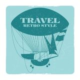 Retro style travel banner with hot air balloon silhouette vector illustration