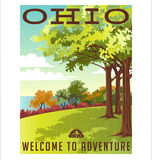 Retro style travel poster series. United States, Ohio landscape. United States, Ohio landscape with trees and lake Stock Photography
