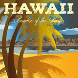 Retro style travel poster or sticker. Hawaii, Paradise of the Pacific. Stock Photo