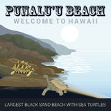 Retro style travel poster or sticker. Punaluu Beach in Hawaii Stock Photo