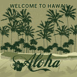 Retro style travel poster or sticker. Welcome to Hawaii Stock Photography
