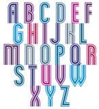 Retro style triple stripes font. Stock Photo