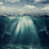 Retro style underwater landscape stock photos