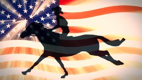 Retro style usa flag waving in sunset light with cartoon horseman cowboy upon running horse new quality unique handmade. Animation dynamic joyful video seamless stock footage