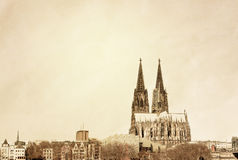 Retro style view of Gothic Cathedral in Cologne Royalty Free Stock Image