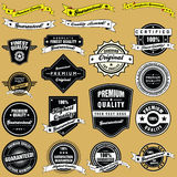 Retro Style Vintage Labels and Emblems Collection. A collection of retro style premium quality and guarantee labels and banners in a vector set Royalty Free Stock Images