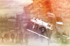 Retro style vintage photo camera Stock Photos