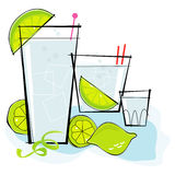 Retro-style Vodka Tonic. Retro-stylized cocktail spot illustration: Vodka or Gin & Tonic with lime twist Stock Photography