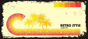 Retro style wave with palms Stock Photo