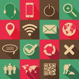Retro Style Web and Mobile Icons. On a colorful background royalty free illustration
