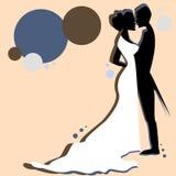 A retro style wedding couple. A retro style illustration of a wedding couple stock illustration