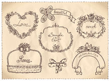 Retro style wedding hand drawn graphic on a paper. Stock Images
