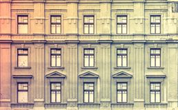 Retro style windows. On the old building Royalty Free Stock Photo