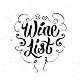Retro style wine list design. Black-white calligraphic vector illustration. Stock Photography