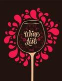 Retro style wine list design. Calligraphic vector illustration. Royalty Free Stock Photo