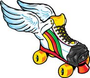 Retro Style Winged Roller Skate Stock Images