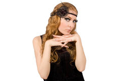 Retro style woman with long lashes Stock Photography