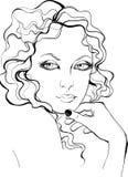 Retro style woman portrait. Retro style portrait of pretty woman Royalty Free Stock Photos