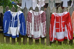 Romanian traditional women`s blouses. Original Romanian old handmade women`s blouses with traditional design elements exposed for sale royalty free stock photo