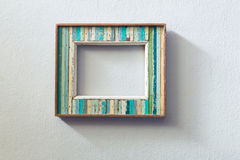 Retro style wooden picture frame Stock Photos