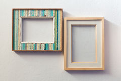 Retro style wooden picture frame Stock Photo