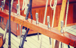 Retro style wooden sailing ship equipment. Royalty Free Stock Photo