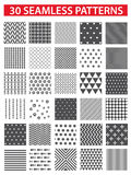 30 retro styled black vector seamless patterns: abstract, vintage, technology and geometric. Stock Images