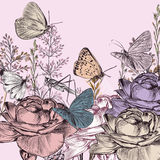 Retro styled botanical background with roses. And butterflies Royalty Free Stock Photos