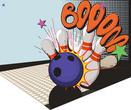 Retro styled bowling game picture Royalty Free Stock Images