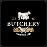 Retro Styled Butcher Shop Label Template with Farm Animals Silhouettes Royalty Free Stock Photos
